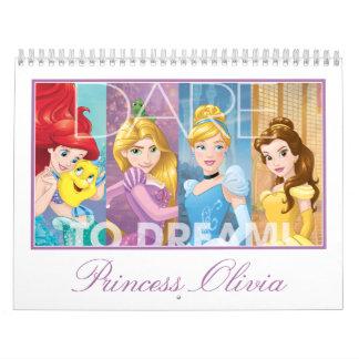 Princesa Calendar de Disney Calendario De Pared