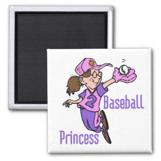 Princesa camisetas y regalos del béisbol imán cuadrado