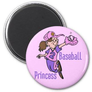 Princesa camisetas y regalos del béisbol imán redondo 5 cm