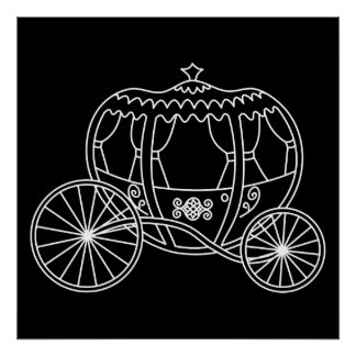 Princesa Carriage blanco en negro Poster