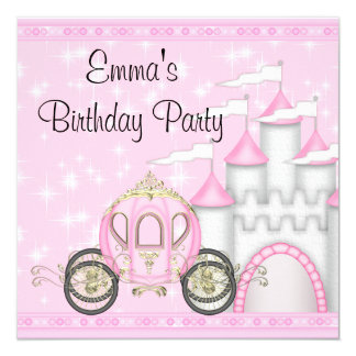 Princesa Carriage Castle Girls princesa cumpleaños Invitación