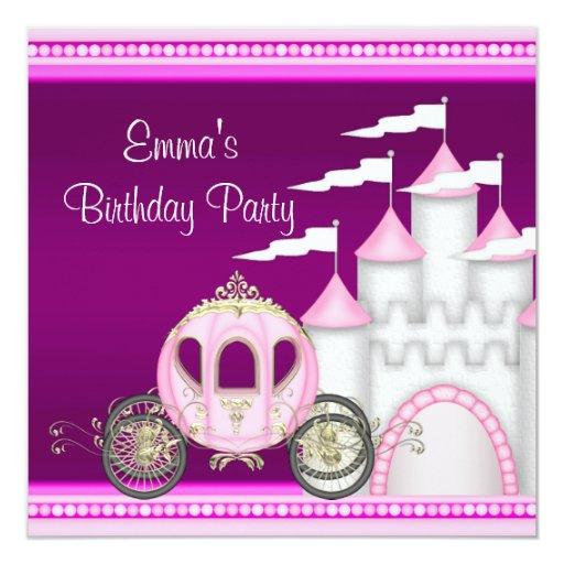 """Princesa Carriage Castle Girls princesa cumpleaños Invitación 5.25"""" X 5.25"""""""