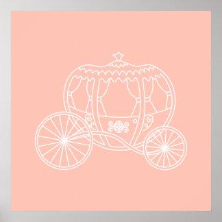 Princesa Carriage en el color rosado coralino Poster