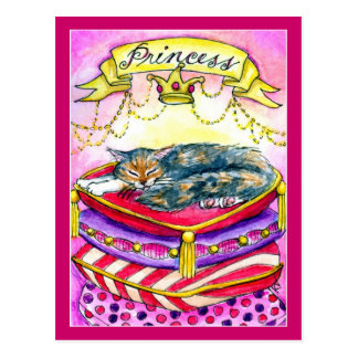 Princesa Cat Kitten en postal rosada