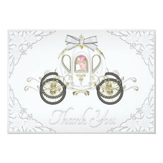 Princesa Coach de la niña y el blanco de los rosas Invitación 8,9 X 12,7 Cm