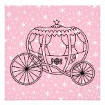 Princesa Coach Design en negro y rosa Invitaciones Personalizada
