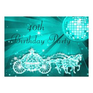 Princesa Coach y caballos y cumpleaños de la bola  Invitacion Personalizada