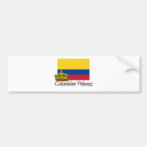 Princesa colombiana pegatina de parachoque