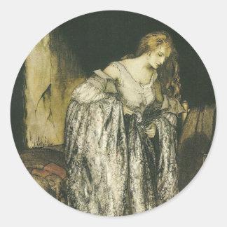 Princesa con el vestido de la chispa de gran pegatinas redondas