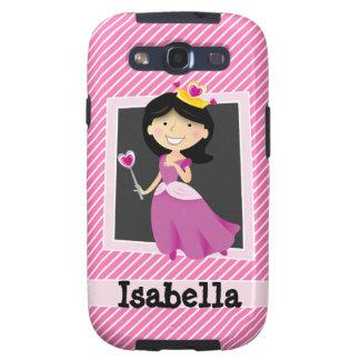 Princesa con el vestido púrpura; Rayas rosadas y Galaxy S3 Fundas