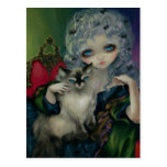 """Princesa con la postal de un gato de Ragdoll"""
