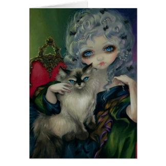 Princesa con tarjeta de felicitación de un gato d
