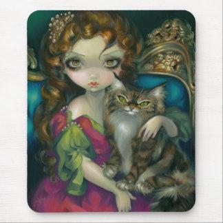 Princesa con un gato de Coon de Maine Mousepad Tapetes De Ratón