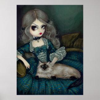 Princesa con una impresión rococó gótica del gato  posters