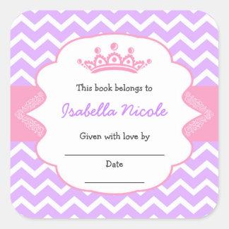 Princesa Crown Bookplates/fiesta de bienvenida al Pegatina Cuadrada