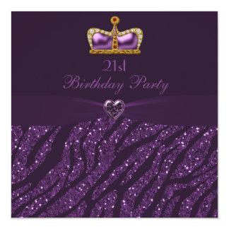 Princesa Crown Heart y cumpleaños del brillo de la Invitación 13,3 Cm X 13,3cm