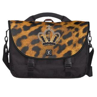 Princesa Crown Laptop Bag de la piel del leopardo Bolsas De Ordenador