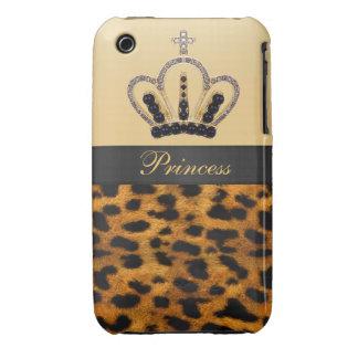 Princesa Crown Leopard Fur Photo Case-Mate iPhone 3 Cárcasas