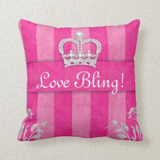 Princesa Crown Pillow PInk Tiara Bling Cojín