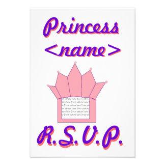 Princesa Crown Second Birthday R S V P Card Anuncios Personalizados