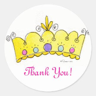Princesa Crown Stickers - gracias Pegatina Redonda