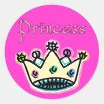 Princesa Crown Stickers Pegatina Redonda