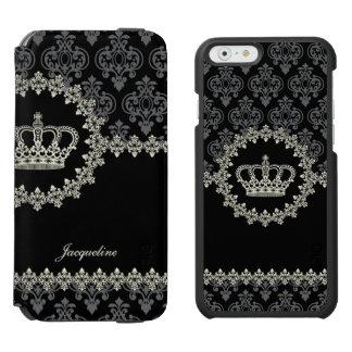 Princesa Damask Crown del vintage Funda Billetera Para iPhone 6 Watson