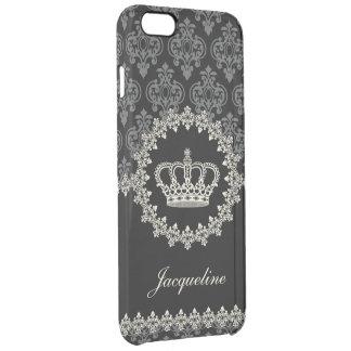 Princesa Damask Crown del vintage Funda Transparente Para iPhone 6 Plus