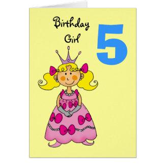 princesa de 5 años (pelo rubio) tarjeta de felicitación