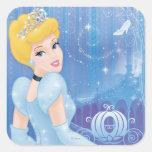 Princesa de Cenicienta Calcomanía Cuadrada