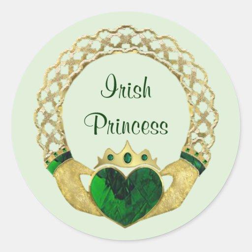 Princesa de Claddagh Pegatinas Redondas