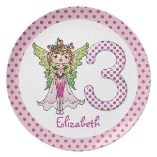 Princesa de hadas 3ro cumpleaños de los lunares ro platos de comidas