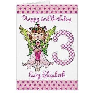 Princesa de hadas 3ro cumpleaños de los lunares tarjeta de felicitación