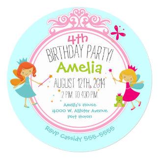 Princesa de hadas Birthday Circle Invite Invitación 13,3 Cm X 13,3cm