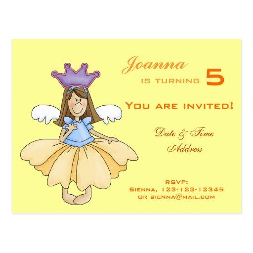 Princesa de hadas Birthday Invitation Postales