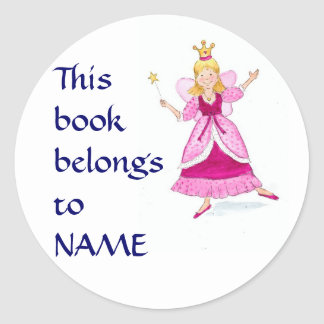 Princesa de hadas Bookplates a personalizar Etiqueta Redonda