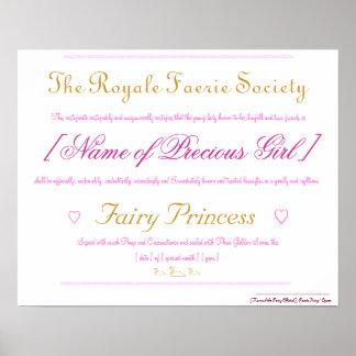Princesa de hadas Certificate Póster