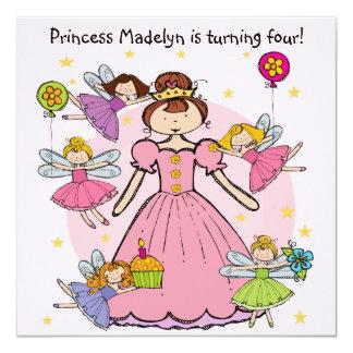 "Princesa de hadas Customized Birthday Invites Invitación 5.25"" X 5.25"""