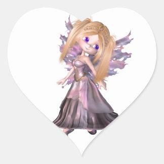 Princesa de hadas de Toon en vestido púrpura Pegatina En Forma De Corazón