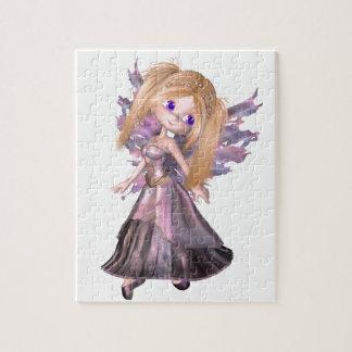 Princesa de hadas de Toon en vestido púrpura Rompecabeza Con Fotos
