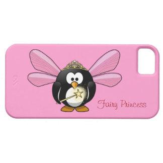 Princesa de hadas del pingüino lindo con la corona iPhone 5 funda