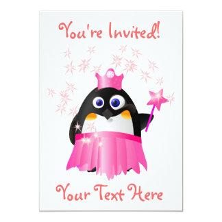 Princesa de hadas Penguin Invitation Comunicado Personal