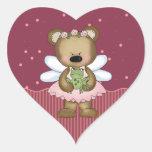 Princesa de hadas rosada Heart Stickers del oso de Calcomanías De Corazones