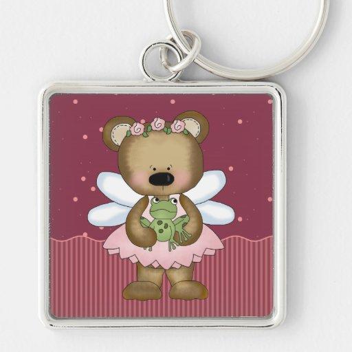 Princesa de hadas rosada llavero del oso de peluch