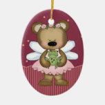 Princesa de hadas rosada Oval Ornament del oso de