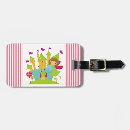 Princesa de hadas triguena etiqueta para equipaje