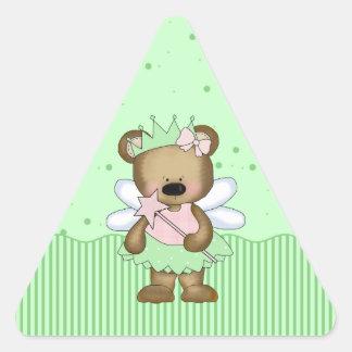 Princesa de hadas verde Triangle Stickers del oso Calcomania Trianguladas Personalizadas
