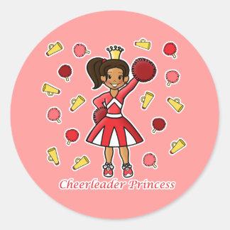 Princesa de la animadora etiqueta redonda