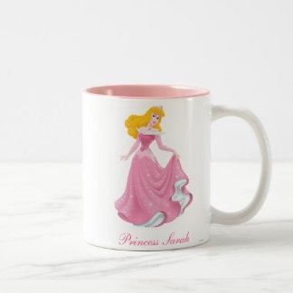 Princesa de la aurora taza de café de dos colores