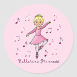 Princesa de la bailarina etiquetas redondas